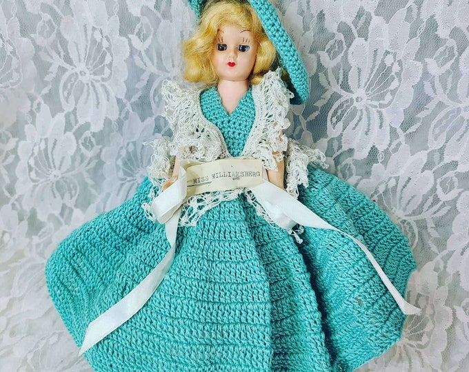 """Antique 8"""" Doll Mohair ~ Sleepy Eyes ~ Crochet Dress ~ Missing a Shoe ~ Dress Me Doll ~ 1950s """"Miss Williamsburg"""" Doll ~ Sold As-Is"""