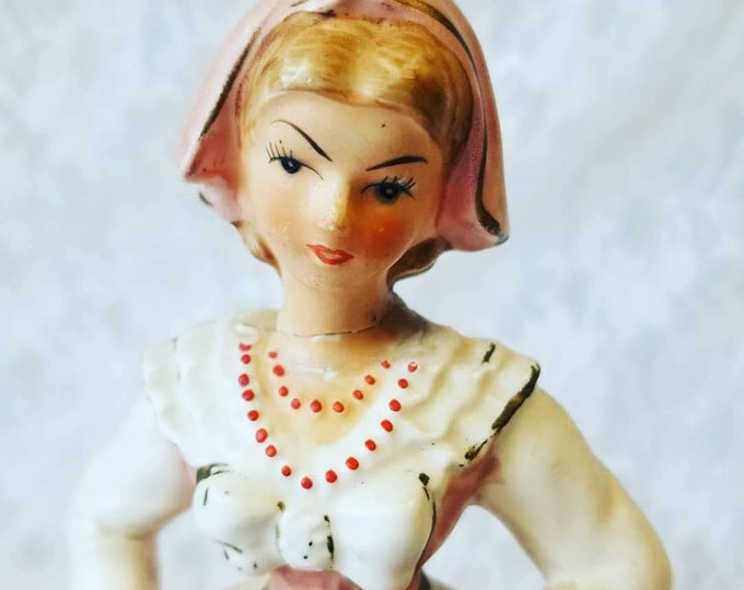 "Clearance ~ Beautiful Pink Victorian Porcelain Girl Bisque Figurine ~ 8"" Figure, Statue, Figurine ~ As-Is ~ Please Read"