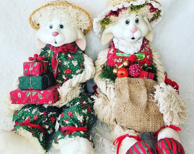 "Set of 2 Christmas Rabbit Boy and Girl Christmas 18"" Dolls ~ Holiday Decor ~ Christmas ~ Collectible Dolls ~ Sold as a Set"