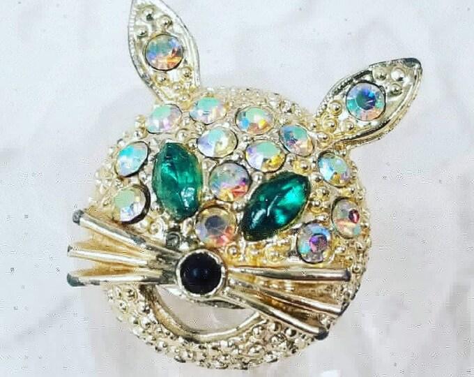 1950s Easter Bunny Rabbit Aurora Borealis Rhinestone Crystal Gold Tone Pin Brooch