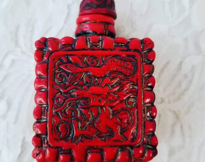 Chinese Carved Dragon Snuff Bottle Jar ~ Corked ~ Lidded Container ~ Red ~ Carved Stone ~ Spell Jar