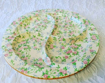 Vintage 1950s Japanese Porcelain Serving Dish Divided 4 Section ~ Floral Rose Print ~ Perfect for Crystals ~ With Holes for Hanging?