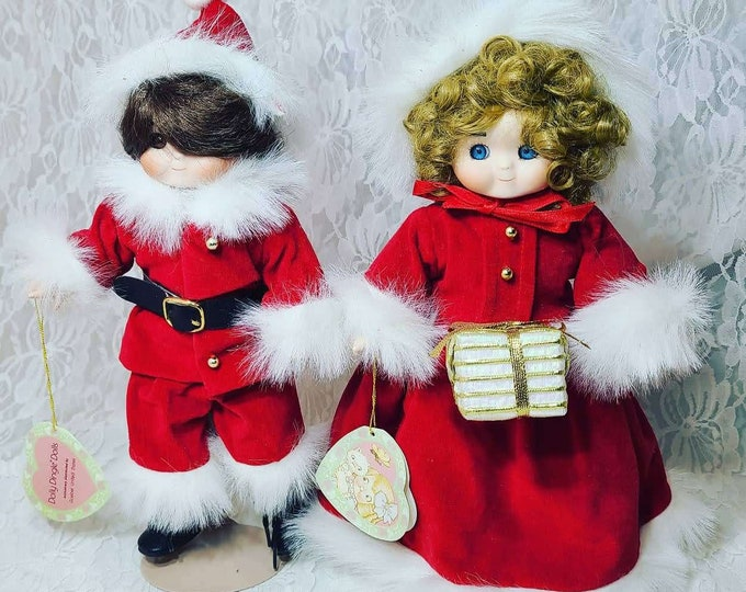 Set of Two (2) Goebels Dolly Dingle Christmas Dolls ~ Red Velvet Dress ~ Holiday Décor ~ Christmas ~ RARE Limited Edition ~ Numbered
