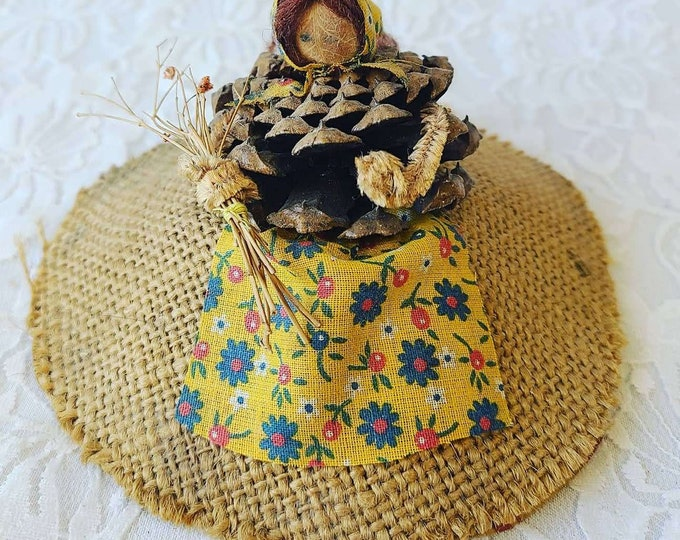 Handmade Pine Cone Doll ~ Prairie Doll ~ Corn Husk Doll ~ Primitive House Blessing Doll ~ 1977 Signed by Artist