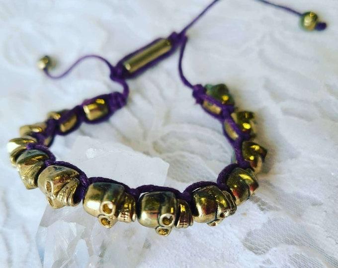 Vintage Bronze Skull Beads Mala Prayer Beaded Purple Bracelet ~ Handmade OOAK ~ Boho Bohemian Jewelry