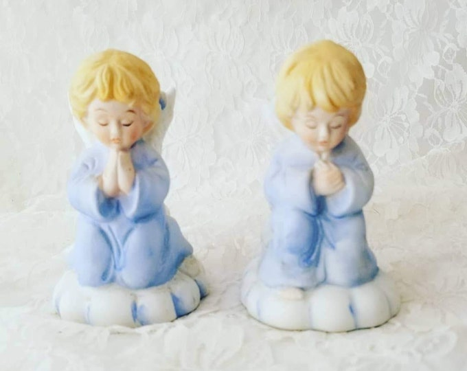 Set of Two (2) Ceramic Praying Angel Candle Holders ~ Christmas ~ Holiday ~ Gift for Angel Lovers