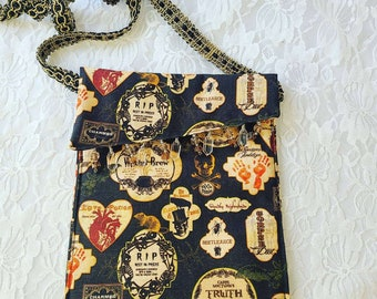 Vintage Apothecary Style Halloween Handmade Crossbody Phone Purse ~ Handbag ~ Storage Bag ~ Camera Bag ~ Embellished with Crystal Beads