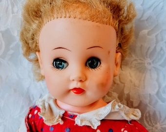 """Donna Haunted Doll ~ 1950s Baby Doll 16"""" Rubber~ Paranormal ~ Unhappy ~ Stuck in The Moment ~ Draws Blood, Scratches"""