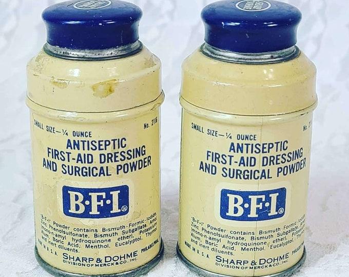 ANTIQUE BFI Tin Sharp Dohme Antiseptic Medicine Pharmaceutical Vintage Antique Merck Can is FULL