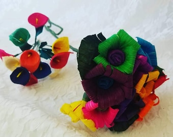 Two Bouquets of Mexican Teresita Paper Flowers ~ Colorful Corn Husks  ~ Handmade ~ 3D Origami ~ Day of the Dead Mexican Folk Art