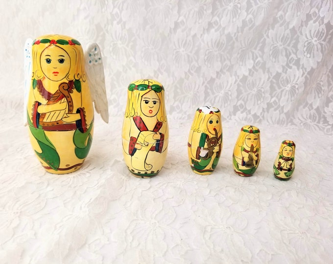 Hand Painted Wood Matryoshka ANGEL Russian Doll with 4 Wooden People Inside ~ Christmas Angel ~ Sold AS-IS