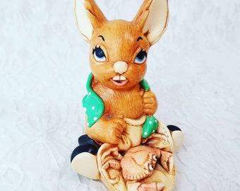 "Vintage Pendelfin Bunny Figurine ~  PENDELFIN Rabbit Bunny ""Nipper"" Stonecraft Hand Painted Figurine England"