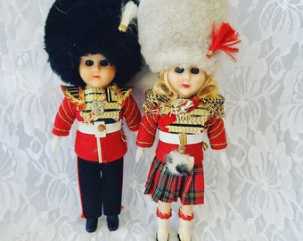 "Lot of Two (2) SCOTLAND Souvenir Doll ~ Celluloid 8"" Red Tartan Kilt ~ National Dress ~ Sleepy Eyes ~ Thistle Pin"