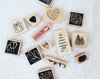 Lot of 14 Wooden Rubber Stamps for Scrapbooking or Paper Crafting - Holiday Christmas Easter Designs