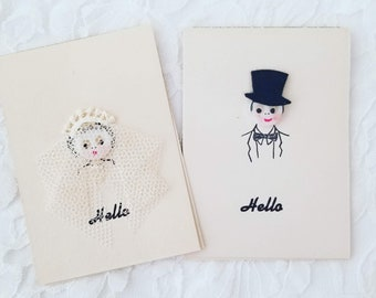 "Antique Set of 2 ""BETTY BUTTON"" Handmade Bridge Cards  1947 ~ Button-Faced Bride and Groom ~ Copyright on Backside"