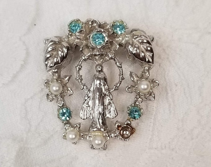 Vintage Two-Sided Madonna Virgin Mary Brooch ~ Religious Pin Miraculous Medal CATHOLIC ~ Virgin Mary ~ Madonna Brooch ~ Church Jewelry