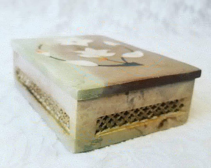 Unique Trinket Box ~ Hand Carved Stone Box ~Vintage Soapstone Carved Jewelry Box Mother of Pearl Inlay ~ Made in India