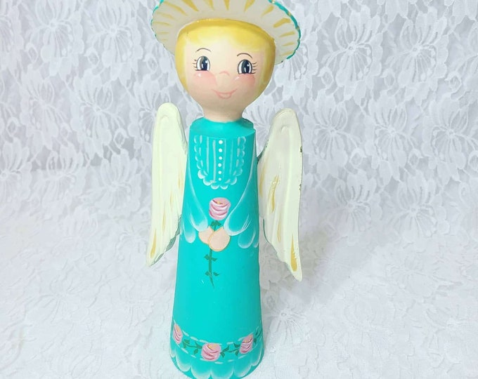 Wooden Angel Figurine ~ Gift for Mom ~ Christmas ~ Holiday ~ Gift for Angel Lovers ~ Signed Art 1984