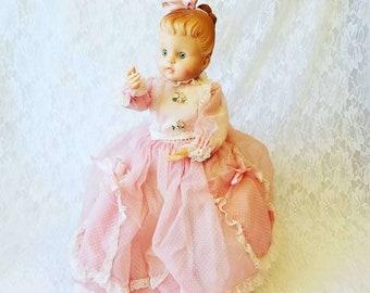 1950s Handmade ~ Plastic Bottle Doll ~ Secret Stash Sarah ~ Big Space in Back for Hiding Things