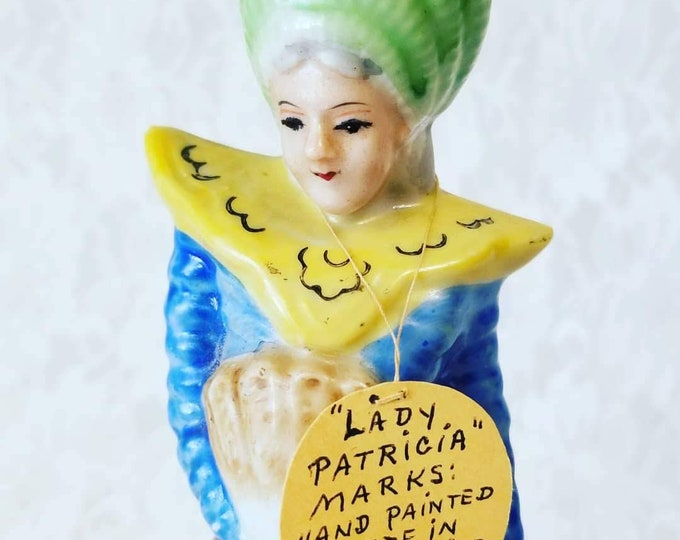"Lady Patricia Porcelain Bisque Figurines Vintage Occupied Japan 1940-50 Hand Painted 8.25"" Statue Figure Figurine"