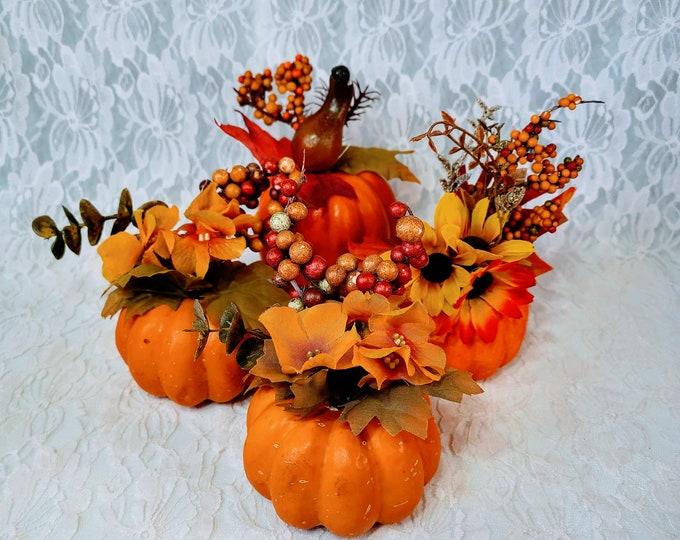 "Cute 3.5"" Pumpkin Set of Four (4) Small  Faux Silk Floral Arrangements ~ Halloween Centerpiece ~ Fall Décor Decorations"
