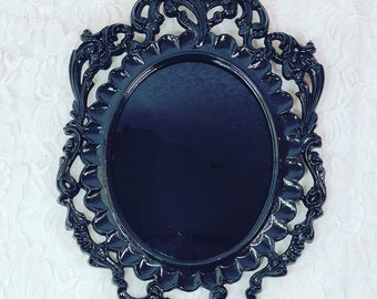 """No Reserves Bubble Glass Plastic 10.5X7"""" Black Glass Scrying Mirror ~ Consecrated Full Harvest Moon in September 2021~ Divination *Reduced"""
