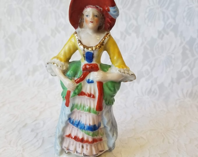 Victorian Porcelain Bisque Figurine Vintage ~ Made in Post-War Japan 1940-50 ~ Hand Painted ~ Marked on Bottom