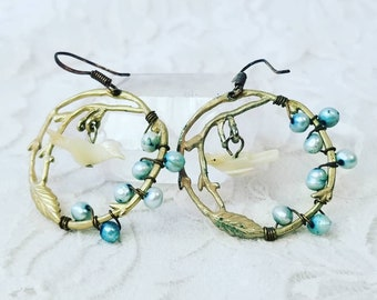 Handmade Blue Pearl Beads on Brass Twig Earrings with Mother of Pearl Birds