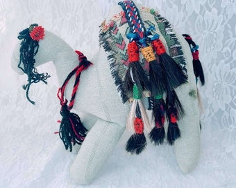 """Vintage Middle Eastern Camel 10"""" ~Stuffed Animal with Real horsehair ~ Handcrafted in India ~ Weird and Unusual Gift"""