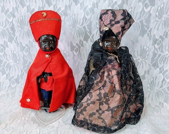 Set of Two Nigerian Royalty Man and Wife Ethnic Black African Folk Doll ~ International Souvenir Doll ~ RARE Celluloid Sold As Is