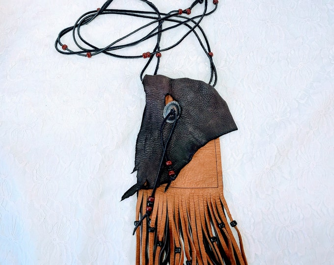 Hand Worked, OOAK Super Soft Genuine Leather Purse Satchel Handbag ~ Hand Stitched ~ Can Fit Tarot Cards ~ Holds a Phone