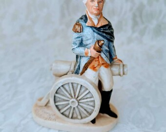Old Chalk ware Post-WW2 P. W. Baston Sebastian Figure GEORGE WASHINGTON with CANNON copyright 1947 Gift for Grandpa