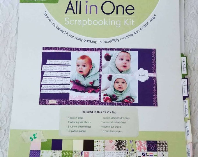 Amazing Spiral Scrapbook Kit ~ 12 by 12 ~ Contains Papers, Stickers, Quotes, ABC Rub-Ons and Layout Ideas
