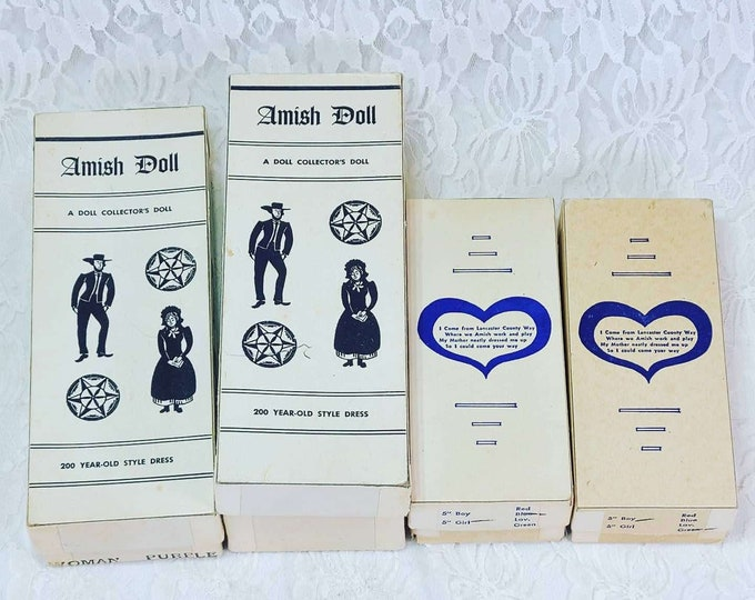 Handmade Amish Doll Family ~ Vintage Celluloid Dolls ~ Set of FOUR ~ Hand-sewn Clothing ~ ORIGINAL BOXES!
