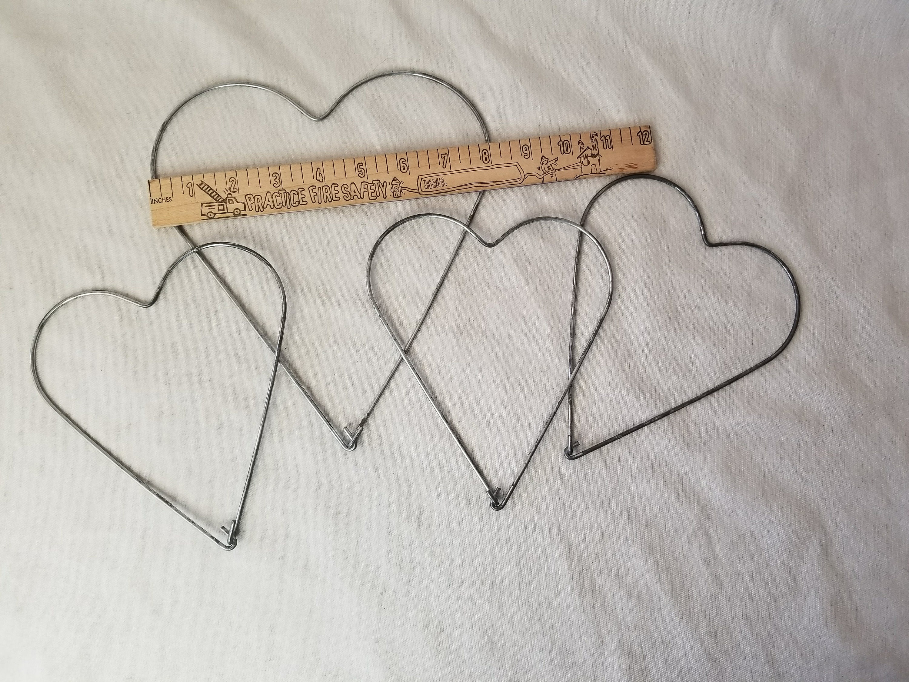 Lot Of 4 Old Fashioned Heart Shape Metal Frames For Crafting Wreath
