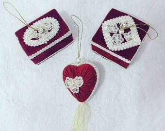 Set of Three (3) Handmade Victorian Valentine's Day, Bridal Shower, or Wedding Decorations ~ Red Velvet Ornaments