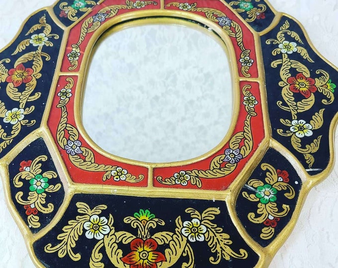 Antique Reverse Painted Wall Mirror Peruvian Cajamarca Gilt Gold Floral Eglomise ~ Made in Peru ~ Painted Glass ~ Sold AS-IS