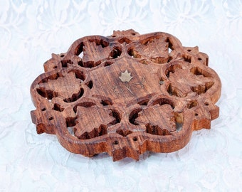 """Vintage Footed Trivet Made in India ~ Intricate Wood Carving with Copper Inlay~ Hand Made Wooden Hot Pot Table Trivet or Large Coaster 6"""""""
