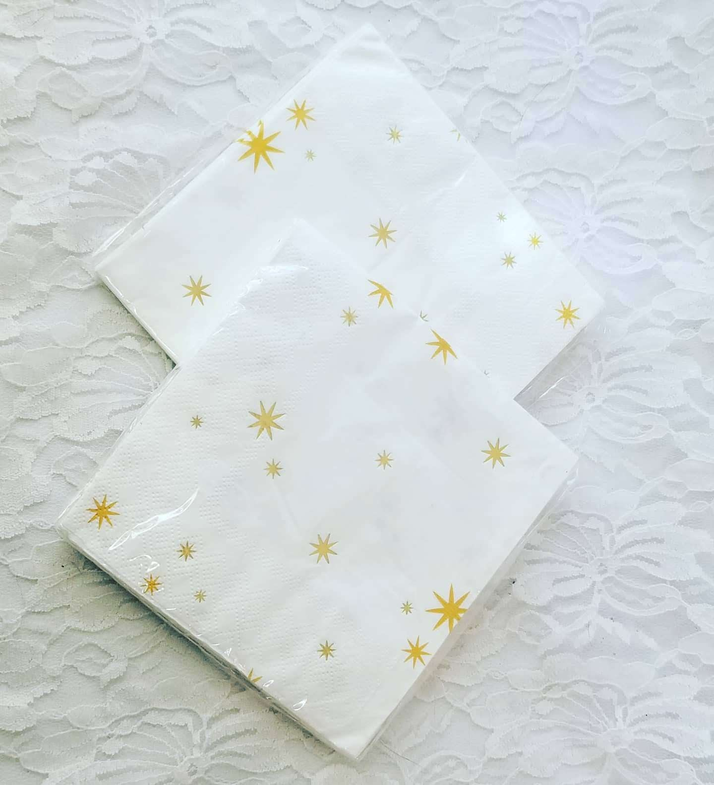 Lot Of 2 Packs White Gold Star Celestial Napkins Tissue Paper For Decoupage Crafts 10 Pieces 3 Ply 9 8 By 9 8