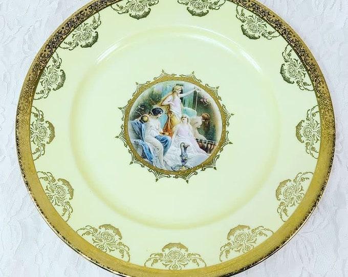 "Rare Antique Goddesses JWK Bavaria Western Germany 1930 Porcelain 10"" Plate ~ Decorative Plate Wall Hanging ~ Bartolome Esteban Murillo"