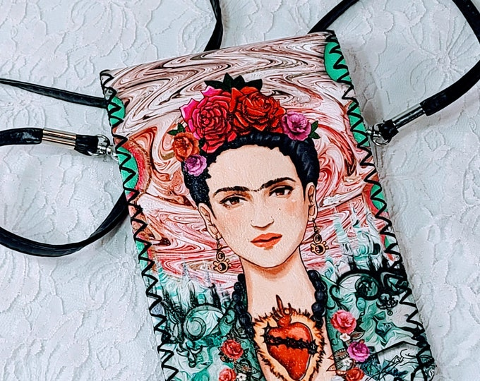 Frida Kahlo Crossbody Genuine Leather Purse Handbag Hand Stitched PERFECT for Phone and Wallet