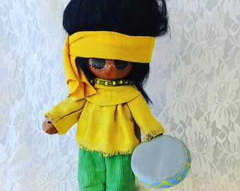 Collectible Lil Luv Paper Mache Native American Person Doll - By Artist Ron Harris ~ Real Leather and Feather, Snakeskin Shoes