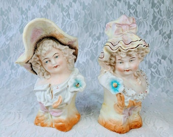 Set of Two Antique GERMAN 1930s Bisque Porcelain Woman Female Figurine Statue Head Busts ~ Signed Underneath