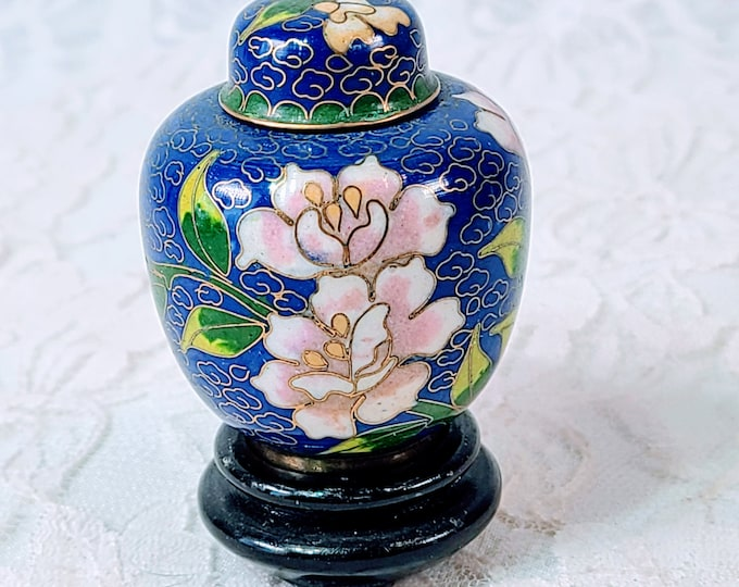 Vintage Cloisonné 3 Piece Ginger Jar with LID and Rosewood Stand  ~ Chinese ~ Marked on Bottom ~ Made in China