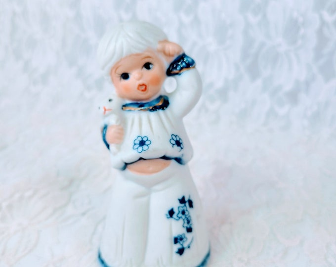 """Vintage Jasco Royal Majestic Blue & White Bisque 5"""" Bell Girl Holding Teddy Bear Figurine ~ Bisque Bell ~ Adorable 1970s"""