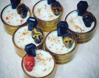 Limited Edition Samhain Dumb Supper Ancestor Ritual Tea Light Candle ~ Spellcast Soy Wax Candle & Charged Crystals ~ Crystal Coffin