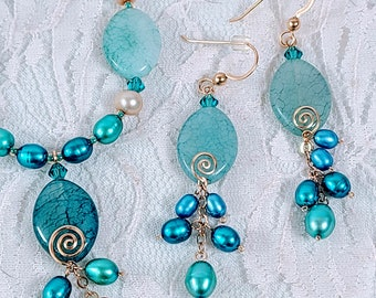 OOAK Jewelry SET~ Earrings and Necklace ~ Blue Teal Swarovski Crystals and Pearls and Glass Beads with GOLD Accents