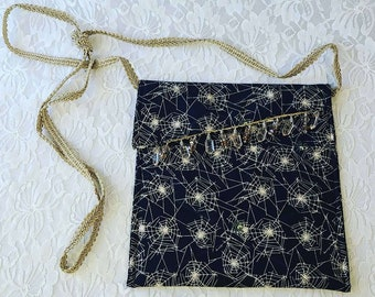 Black Spiderweb Halloween Handmade Crossbody Phone Storage Purse ~ Handbag ~ Storage Bag ~ Camera Bag ~ Embellished with Crystal Beads