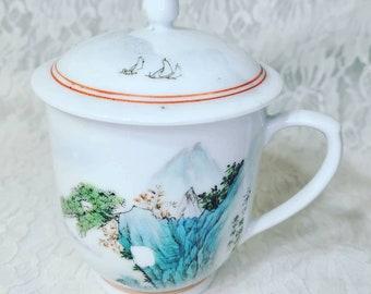 Vintage Porcelain Tea Cup Mug with Lid ~ Keeps Tea Hot