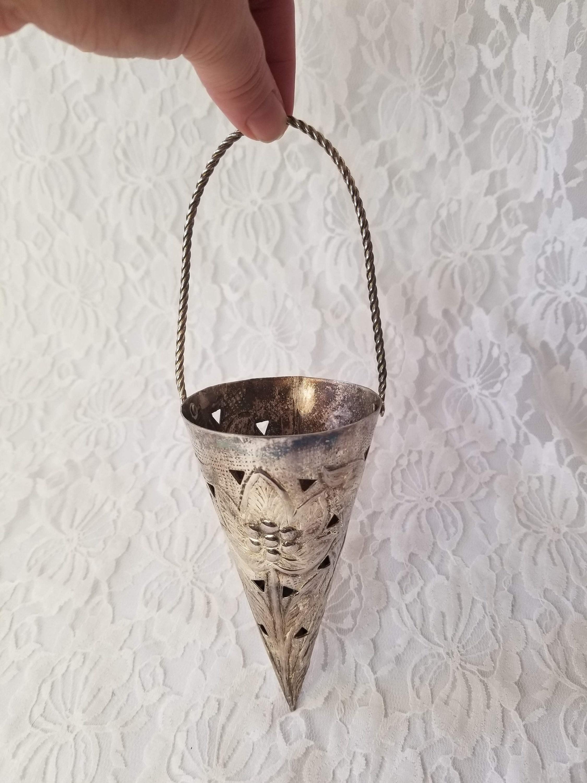 Vintage Silverplate Wedding Posie Flower Bouquet Holder Tussie ...
